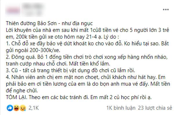 Tốn 2 triệu đưa con đi chơi Thiên Đường Bảo Sơn, ông bố không có ý định quay lại lần thứ 2 với cả loạt điểm trừ kể mãi không hết - Ảnh 1.