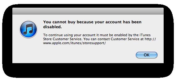 Một trường hợp bị khóa tài khoản iTunes vì có dấu hiệu sử dụng thẻ nạp tiền ăn cắp. (Ảnh: Tinhte)