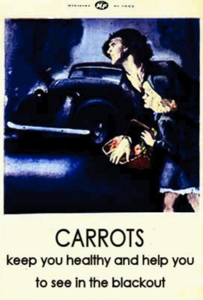 Do thành phố ngắt điện về đêm, cà rốt còn được quảng cáo sẽ giúp người dân nhìn đường rõ hơn.