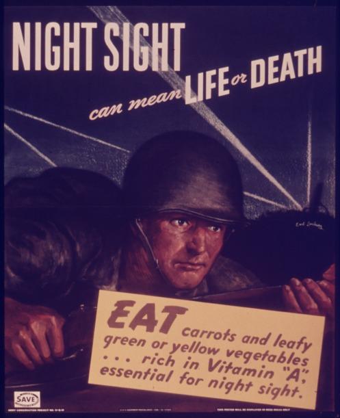 Một trong những poster quảng cáo thời Thế Chiến 2, khuyến khích người dân ăn cà rốt.