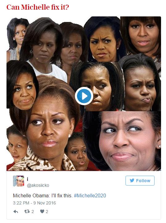 Người Mỹ kêu gọi Michelle Obama tranh cử Tổng thống năm 2020 sau chiến thắng của Donald Trump - Ảnh 1.