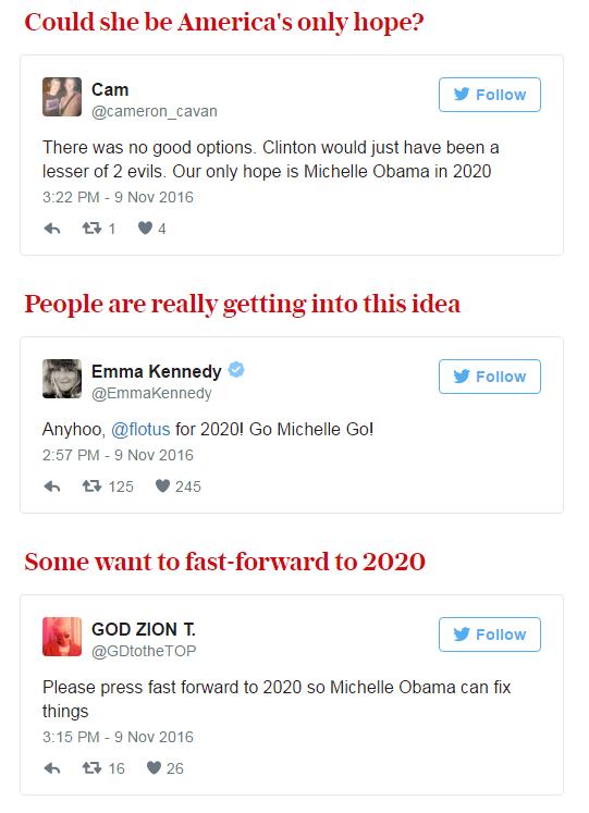 Người Mỹ kêu gọi Michelle Obama tranh cử Tổng thống năm 2020 sau chiến thắng của Donald Trump - Ảnh 2.