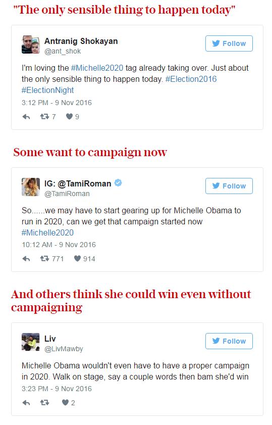 Người Mỹ kêu gọi Michelle Obama tranh cử Tổng thống năm 2020 sau chiến thắng của Donald Trump - Ảnh 3.