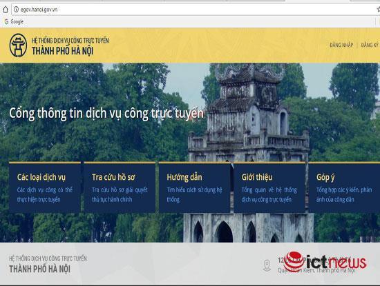 Theo kế hoạch, đến ngày 15/12/2016, người dân ở tất cả 582 xã/phường/thị trấn tại Hà Nội đều có thể truy cập website www.egov.hanoi.gov.vn để sử dụng các dịch vụ công trực tuyến mức 3 lĩnh vực tư pháp cấp xã/phường (Ảnh chụp giao diện trang web Hệ thống địch vụ công trực tuyến Thành phố Hà Nội)