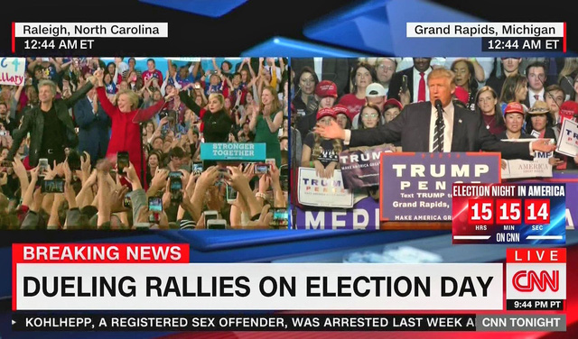 Hình ảnh Trump và Clinton trong buổi vận động cuối cùng (Ảnh: CNN)