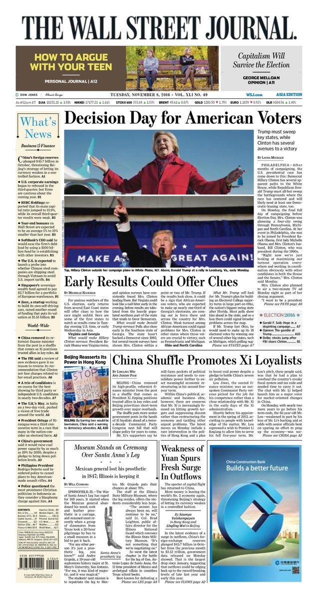 Nhật báo phố Wall gọi đây là ngày quyết định của người Mỹ.