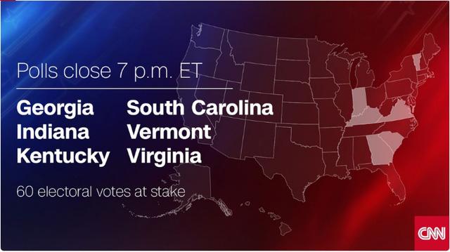 Các bang đóng cửa điểm bỏ phiếu lúc 7h sáng nay theo giờ Việt Nam (Nguồn: CNN)