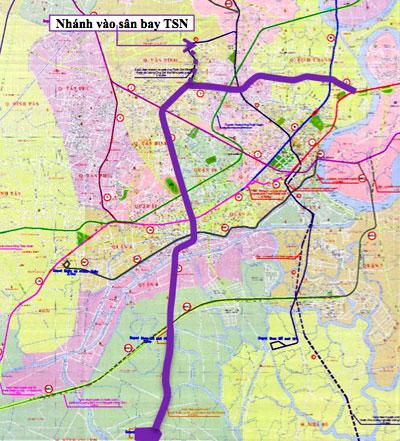 Sơ đồ tuyến metro số 5 (Bến xe Cần Giuộc - cầu Sài Gòn) và nhánh nối từ công viên Hoàng Văn Thụ vào sân bay Tân Sơn Nhất. Ảnh: BQL Đường sắt đô thị TP