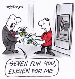 Tranh biếm họa vụ bê bối trả lương quá thấp của 7 Eleven