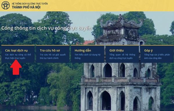 Hướng dẫn đăng ký kết hôn online: Vào địa chỉ egov.hanoi.gov.vn (hoặc bấm vào đây ) rồi chọn vào phần Các loại dịch vụ - Các loại dịch vụ công có thể thực hiện trực tuyến.