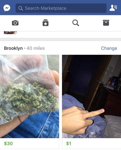 Tại Brooklyn, New York (Mỹ), bạn còn tìm thấy cần sa được rao bán, đây là mặt hàng bị cấm trên Facebook.