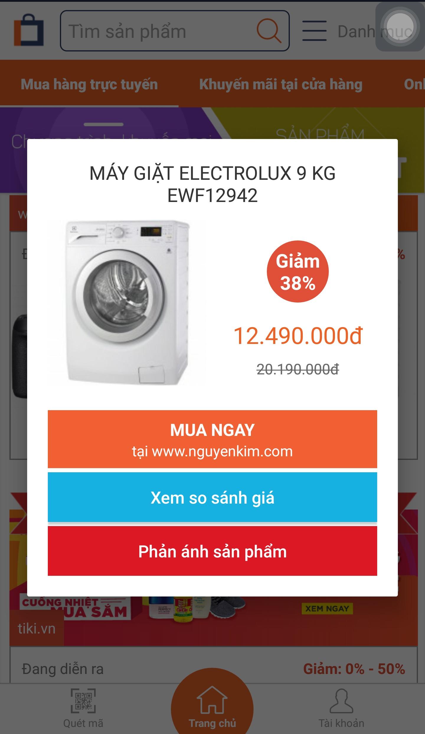 Chiếc máy giặt khuyến mãi ảo của Nguyễn Kim xuất hiện trên trang web của Online Friday khiến khách hàng bức xúc. Ảnh chụp màn hình.