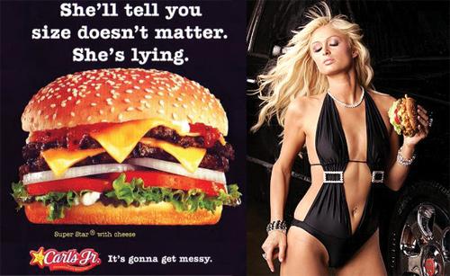 Quảng cáo sản phẩm bánh kẹp của Carl Jr. với hình ảnh sexy của Paris Hilton