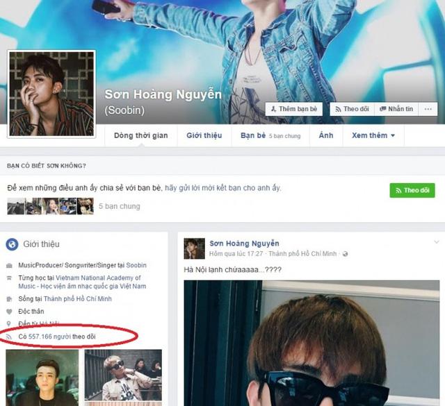 Tài khoản Facebook của Soobin Hoàng Sơn giảm hơn 1 triệu còn 557.166 follower