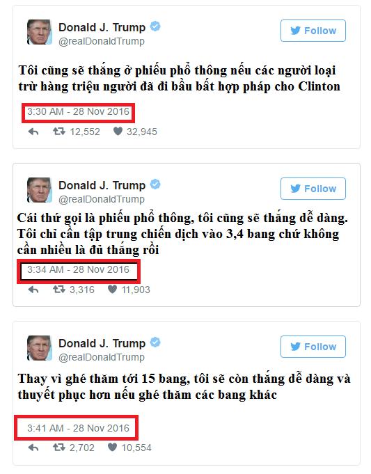 3 dòng Tweets được đăng tải rất gần nhau vào lần lượt 3:41, 3:40 và 3:34 sáng