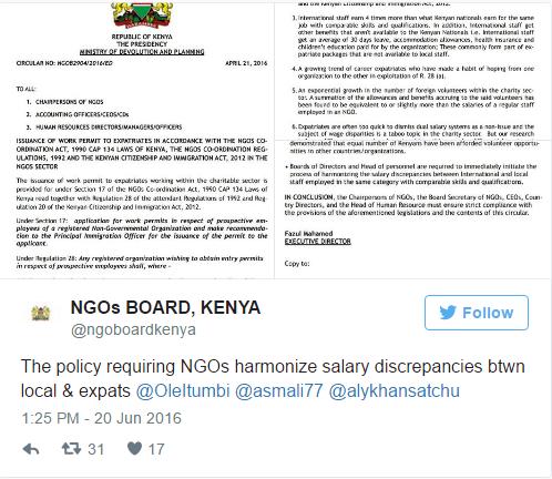 Trang Twitter của NGO Board đăng những quy định thắt chặt quản lý nhân viên nước ngoài tại Kenya