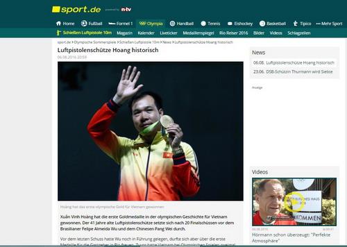 Nhật báo Sport (Đức) và bài viết về Hoàng Xuân Vinh