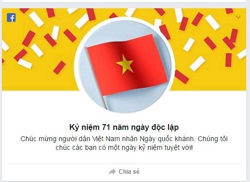 Facebook chúc mừng Ngày Quốc khánh Việt Nam.