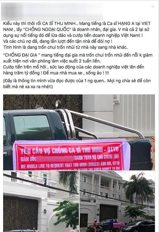 Dòng trạng thái tố cáo vợ chồng Thu Minh lừa đảo xuất hiện trên mạng xã hội vào ngày 27/7