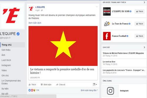Fanpage của nhật báo LEquipe