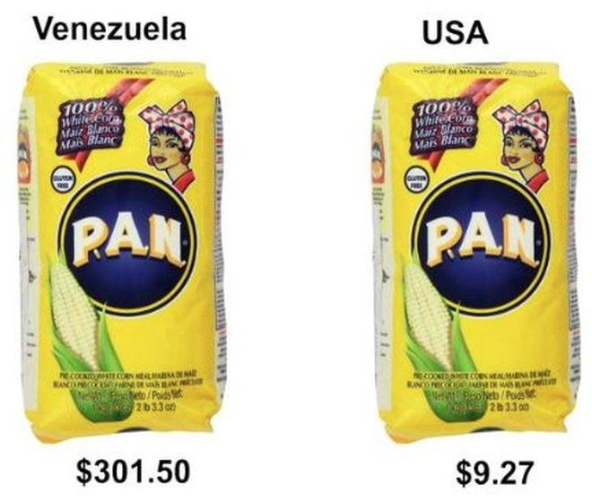 """Mì pasta  Ở Mỹ, mì pasta có giá khá rẻ, chỉ khoảng 2,5 USD/kilogram. Nhưng trên """"chợ đen"""" ở Venezuela, mỗi kilogram mì pasta hiện nay có giá khoảng 3.000 Bolivar, tương đương gần 302 USD, tức là đắt gấp gần 121 lần so với ở Mỹ.       Trứng Trứng dẫn đầu danh sách các nguồn đạm giá bình dân. Nhưng ở Venezuela, một tá trứng có giá tới 1.500 Bolivar, tương đương gần 151 USD, trên """"chợ đen"""". Tại Mỹ, giá trung bình của 12 quả trứng là 1,49 USD. Như vậy, với số tiền để mua 1 tá trứng ở Venezuela, người ta có thể mua 101 tá trứng ở Mỹ.       Dưa hấu Nông sản tươi ở Venezuela hiện nay cũng rất đắt đỏ. Theo tờ New York Times, giá mỗi quả dưa hấu tại một cửa hiệu được Chính phủ trợ giá ở Venezuela có thể lên tới 400 Bolivar, tương đương 40 USD. Trên thị trường """"chợ đen"""", giá dưa hấu thậm chí còn đắt đỏ hơn. Ở Mỹ, mỗi quả dưa hấu chỉ có giá khoảng 5 USD, rẻ bằng 1/8 so với ở Venezuela.       Cà phê Cà phê là loại đồ uống nói chung có mức giá trong tầm tay ở hầu hết mọi nơi trên thế giới, ngoại trừ ở Venezuela. Theo tờ Forbes giá nửa kilogram cà phê rang xay trên thị trường chợ đen ở Venezuela lên tới 2.000 Bolivar, tương đương 201 USD. Tại Mỹ, một túi cà phê tương tự được bán với giá chưa đến 20 USD trên mạng Amazon, chỉ bằng 1/10 so với giá ở Venezuela.  Venezuela có thể sắp hết sạch tiền"""