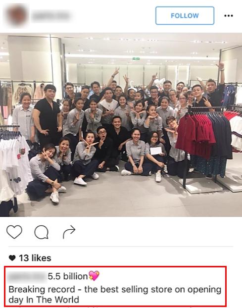 Bài đăng của một người được cho là nhân viên của Zara Việt Nam tiết lộ về con số doanh thu 5,5 tỉ VNĐ trong ngày đầu khai trương.