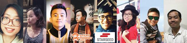 (Từ trái qua: Quỳnh Anh – Minh Thủy – Tấn Phát – Trung Đức (team leader) – Thanh Tân – Ngọc Ánh – Ngọc Tân – Trọng Nguyên)