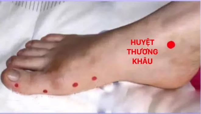 Vị trí huyệt Thương khâu: Chấm đỏ trên mắt cá chân (Ảnh minh họa)