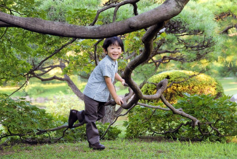 Hisahito cũng thích nô đùa ngoài trời và đạp xe như bao đứa trẻ khác.