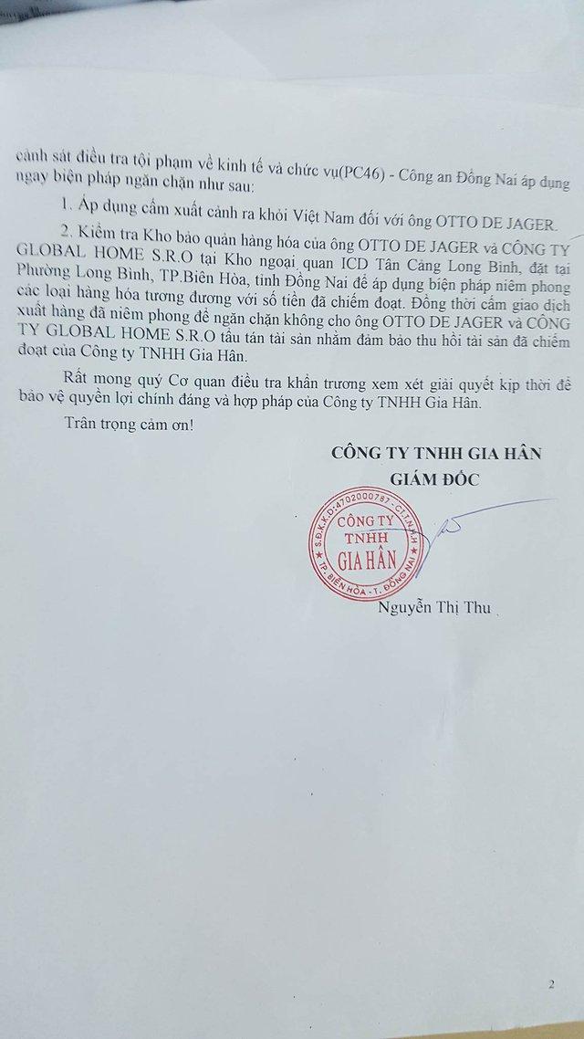 Đơn đề nghị cấm xuất cảnh với doanh nhân Otto De Jager của Công ty TNHH Gia Hân