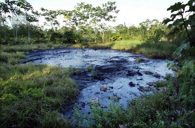 Hồ rác chứa đầy dầu ở Ecuador, hệ quả của việc khoan dầu nhiều năm trước. (Nguồn: Techinsider)