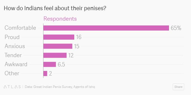 Có khoảng 65% số người đàn ông Ấn được hỏi cảm thấy thoải mái về cậu nhỏ của bản thân.