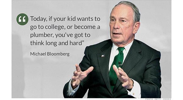 Tỷ phú Michael Bloomberg: 'Quên đại học đi, làm thợ sửa ống nước còn tốt hơn'