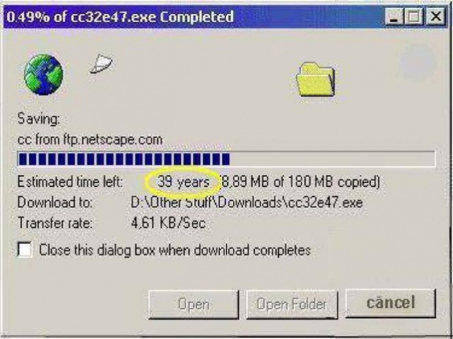 Thời xưa có máy tính dùng thôi đã khó, máy tính có kết nối mạng lại càng khó hơn. Nhưng có mạng rồi, tải file về máy có khi mất tới 39 năm!