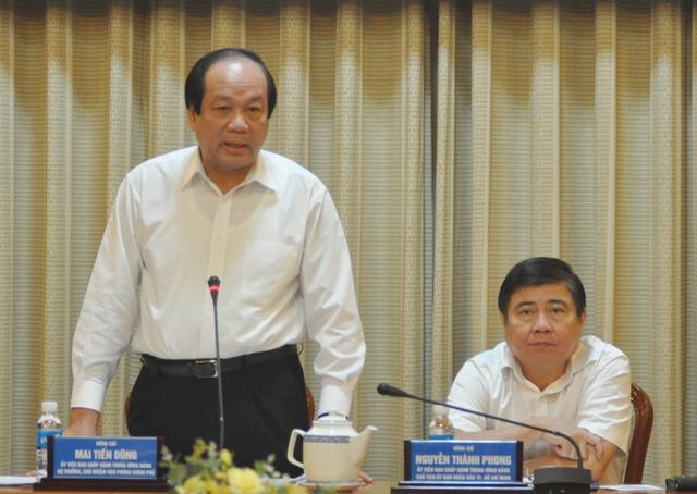 Bộ trưởng, Chủ nhiệm VPCP Mai Tiến Dũng, Tổ trưởng Tổ công tác của Thủ tướng phát biểu tại buổi làm việc - Ảnh: VGP/Phan Hoàng