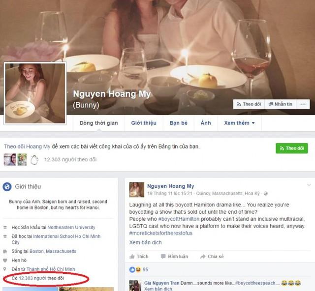 Tài khoản Facebook của hot girl Mie giảm tới 95% lượng theo dõi