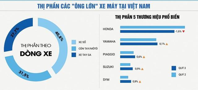 Thị trường xe cũ theo thị phần các hãng xe.