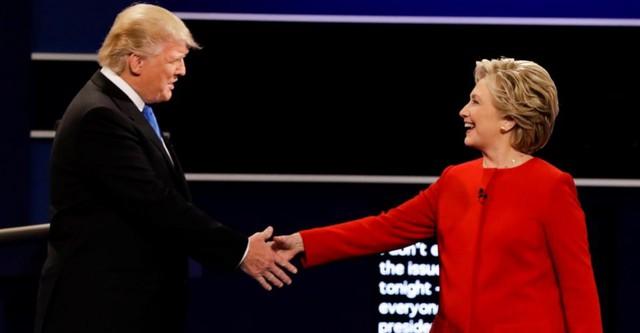 Ông Donald Trump và bà Hillary Clinton trong cuộc tranh luận trực tiếp.