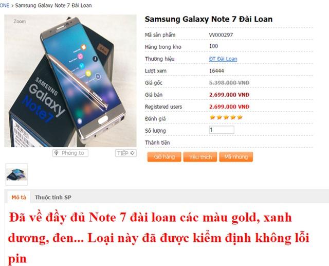 Lời quảng cáo về việc chiếc điện thoại Galaxy Note 7 nhái không bị lỗi pin như sản phẩm thật.