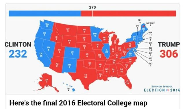 Bản đồ kết bầu cử cho thấy ông Trump đã giành được 306 phiếu đại cử tri.