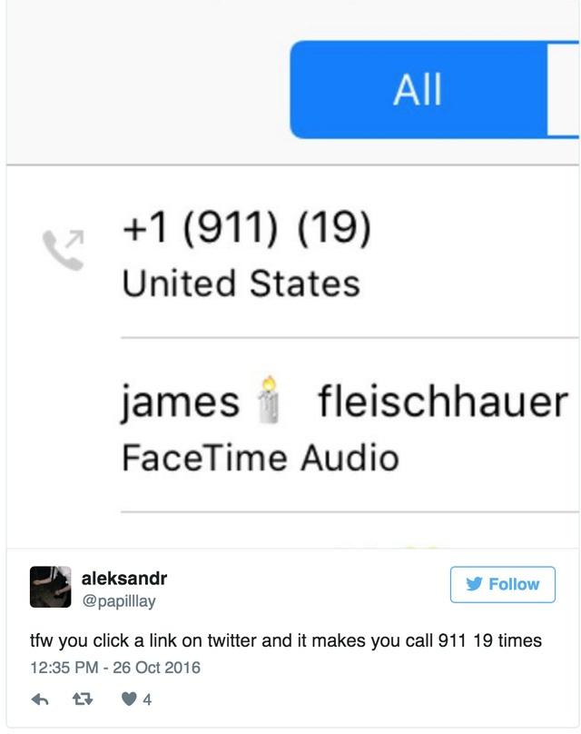 Người dùng Twitter cho thấy iPhone của anh ta 19 lần liên tục gọi 911
