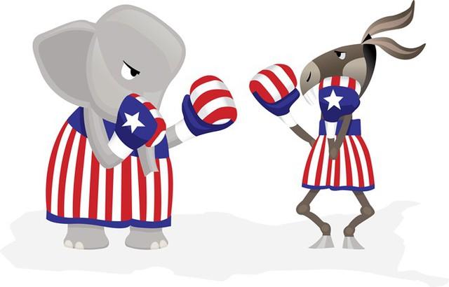 Tranh biếm họa thể hiện sự đối đầu giữa đảng Cộng hòa (con voi) và đảng Dân chủ (con lừa). Ảnh: Diffen.com.