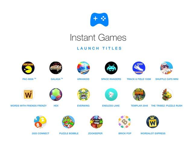 Các tựa game hiện có trên Facebook Instant Games