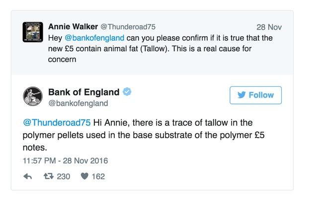 Bank of England trả lời một người dùng Twitter về việc sử dụng mỡ trong quy trình sản xuất tờ 5 bảng