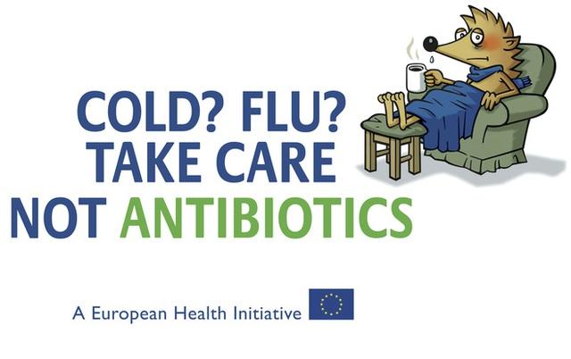 Cảm lạnh? Cảm cúm? Chăm sóc bản thân chứ đừng dùng kháng sinh, một hình ảnh tuyên truyền cộng đồng của Châu Âu