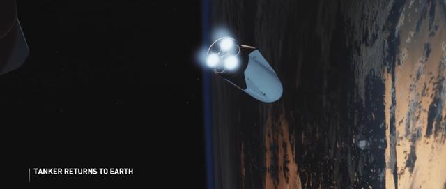 Sau khi hoàn thành việc nạp nhiêu liệu, tàu nhiên liệu lại bay về Trái Đất để sẵn sàng cho lần phóng sau.