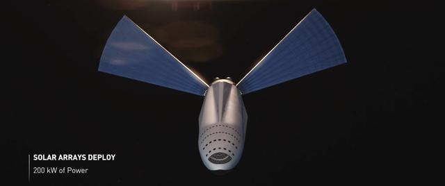 Một khi được tiếp đầy nhiên liệu, tàu vũ trụ sẽ triển khai hệ thống cánh quạt như những tấm pin mặt trời cho công suất 200 kW.
