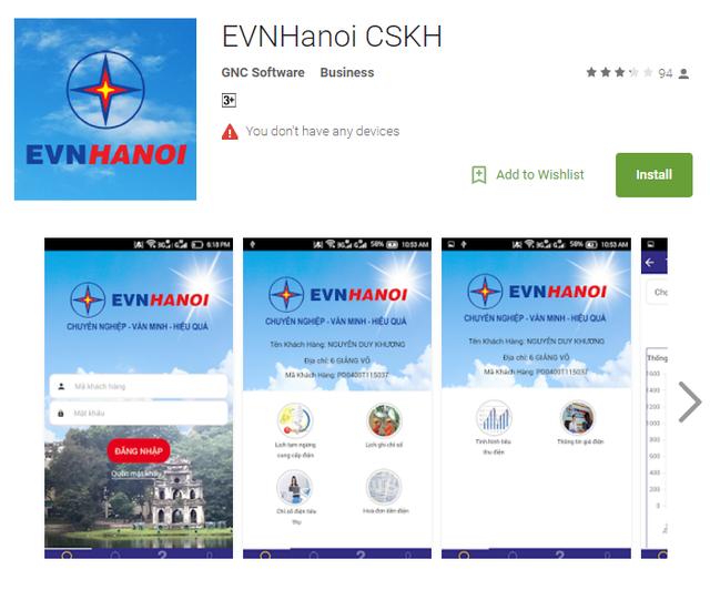 Ứng dụng EVNHanoi CSKH trên chợ Google Play Store