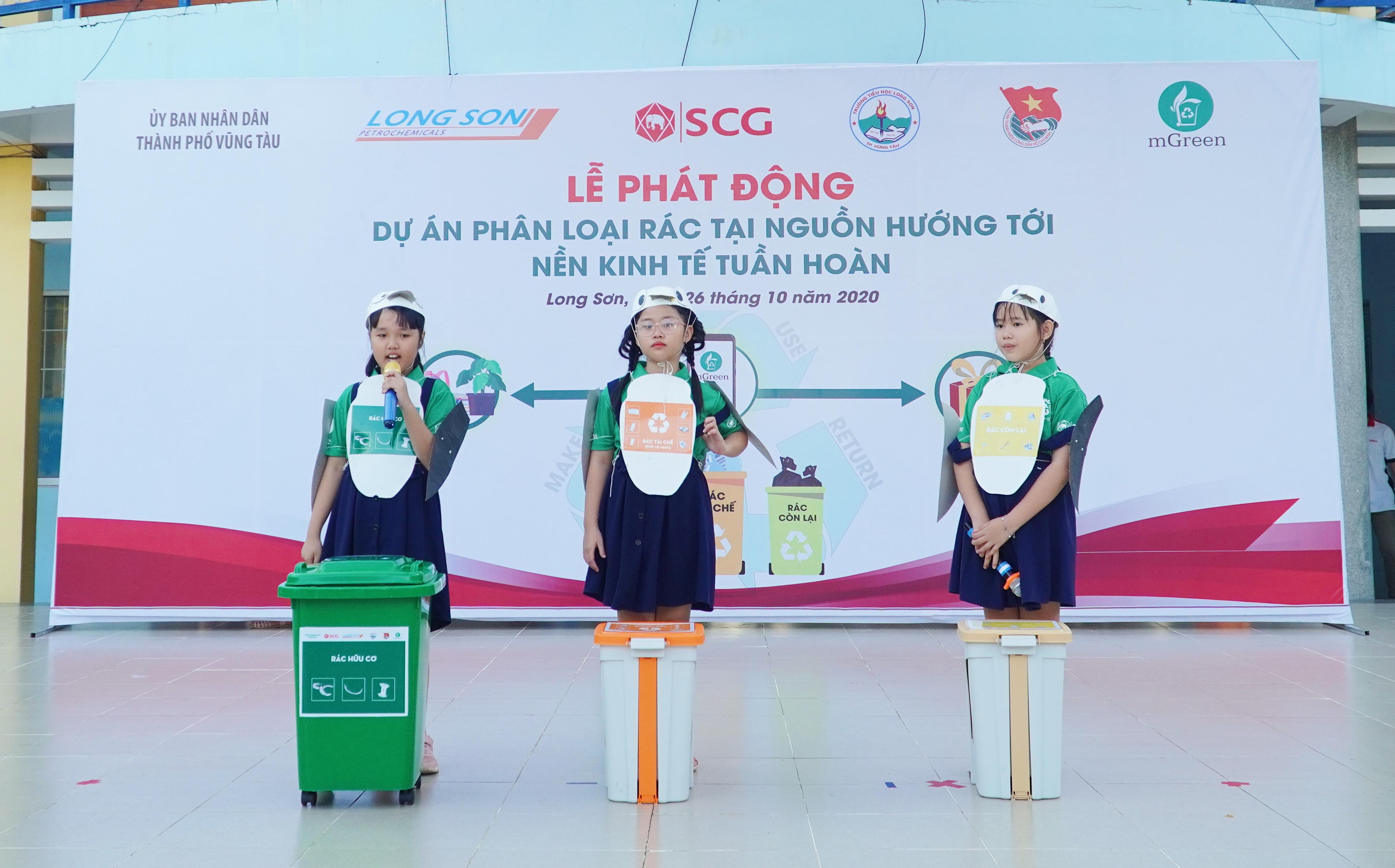 SCG khởi động dự án thí điểm đầu tiên về phân loại rác tại trường tiểu học Long Sơn 2 ở Bà Rịa – Vũng Tàu