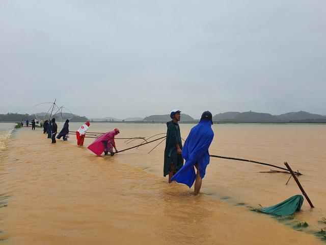 [Ảnh] Cận cảnh điểm sạt lở kinh hoàng chia cắt Quốc lộ 46, dân liều mình đứng giữa dòng lũ bắt cá ở Nghệ An - Ảnh 10.